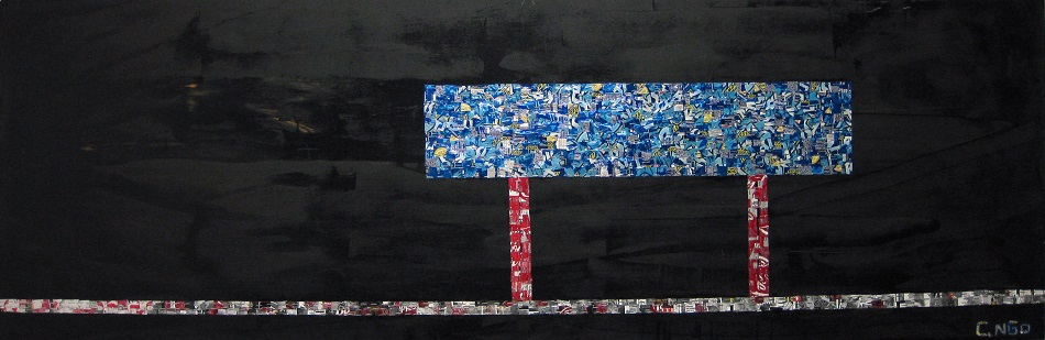 blue bar -  oil/aluminum collage on board 84x24 in