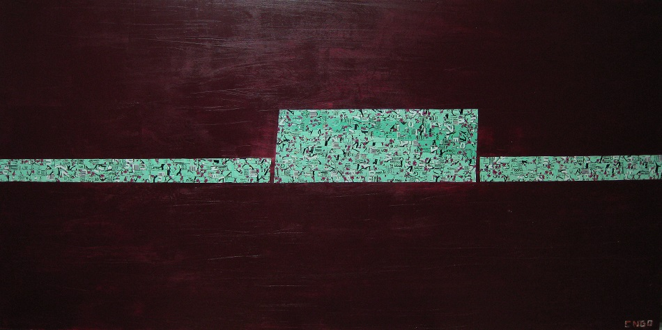 cherry blossom -  oil/aluminum collage on board 84x36 in.