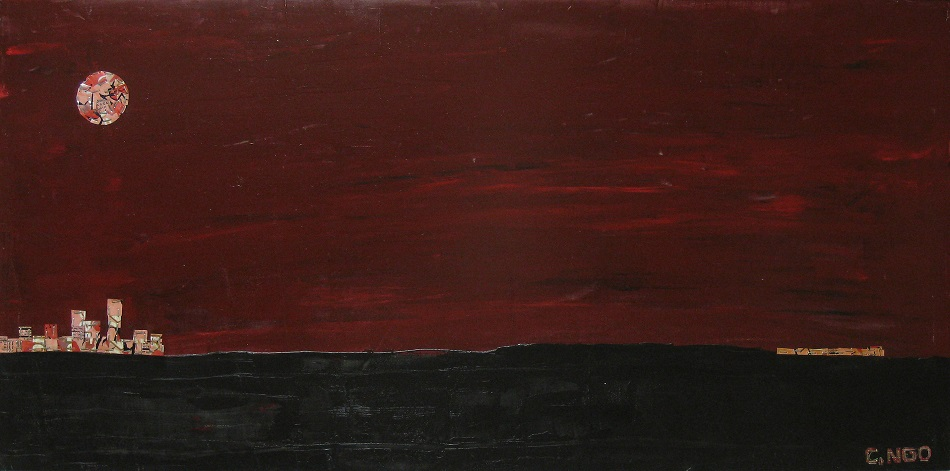 red sun -  oil/aluminum collage on board 48x24 in.