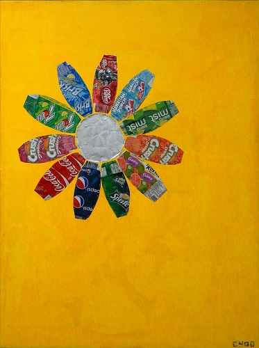 sunflower -  oil/aluminum collage on board 36x48 in