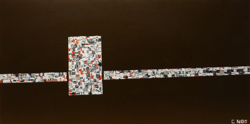 sweet tea -  oil/aluminum collage on board 48x24 in.