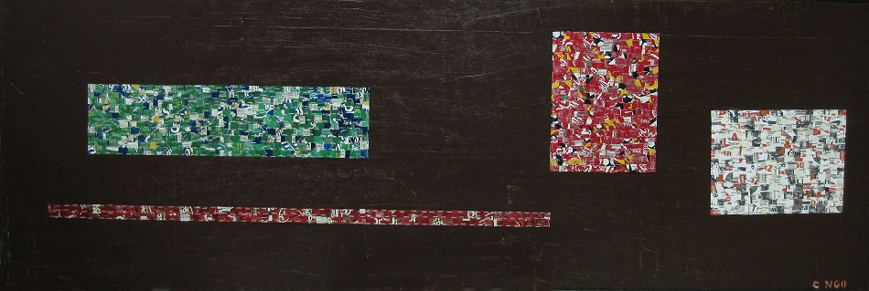 untitle # 2 -  oil/aluminum collage on board 72x24 in