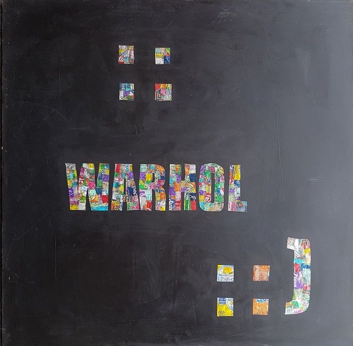 warhol - oil/aluminum collage on board 60 x 60 in.